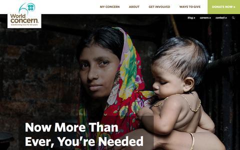 Screenshot of Home Page worldconcern.org - World Concern   Witness the Transformation - captured Jan. 11, 2016