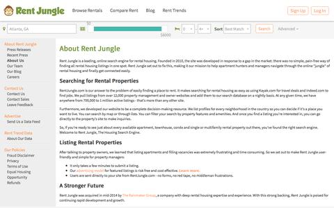 Screenshot of About Page rentjungle.com - About Us - captured Sept. 22, 2018