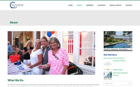 Screenshot of About Page newcanaanchamber.com - About – New Canaan Chamber - captured July 12, 2017