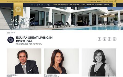 Screenshot of Team Page greatlivinginportugal.com - Team - Great | Living in Portugal - captured July 23, 2018