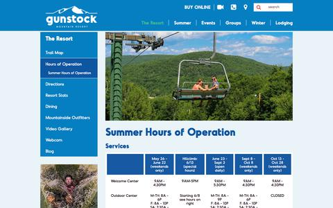 Screenshot of Hours Page gunstock.com - Gunstock Resort: Open Hours for Day & Night Skiing & Riding in New Hampshire - captured Sept. 22, 2018