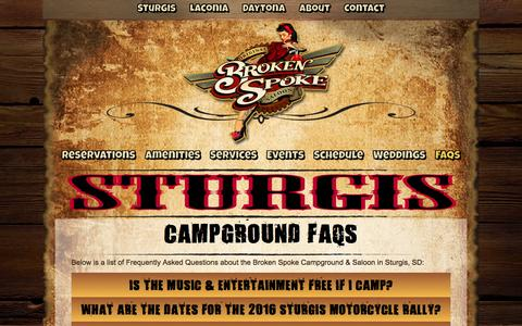 Screenshot of FAQ Page brokenspoke.com - Broken Spoke Campground - FAQs - captured Feb. 8, 2016
