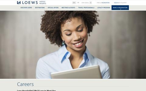 Screenshot of Jobs Page loewshotels.com - Loews Hotels Careers | Loews Luxury Hotel and Resorts - captured Dec. 31, 2015
