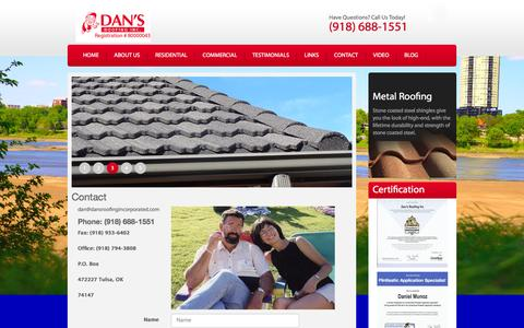 Screenshot of Contact Page dansroofingincorporated.com - Tulsa Roofer Contact - captured June 18, 2016