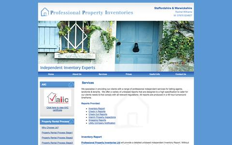 Screenshot of Services Page professionalpropertyinventories.co.uk - Services : Professional Property Inventories - captured Oct. 3, 2014