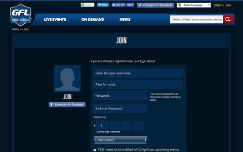 Screenshot of Signup Page gfl.tv - Registration - captured Oct. 31, 2016