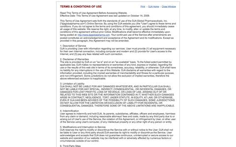 Screenshot of Terms Page djaglobalpharma.com - DJA Global Pharmaceuticals, Inc Website Terms and Conditions - captured Oct. 5, 2014