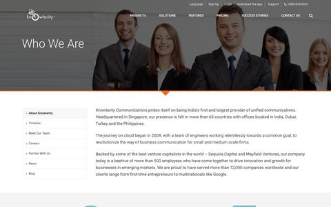 Screenshot of About Page knowlarity.com - Unified Communications   Cloud Telephony - Knowlarity.com - captured Nov. 17, 2015