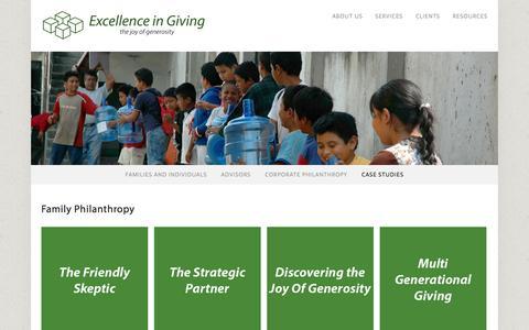 Screenshot of Case Studies Page excellenceingiving.com - Case Studies — Excellence In Giving - captured Oct. 3, 2014