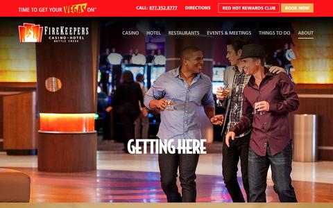Screenshot of Maps & Directions Page firekeeperscasino.com - Getting Here - Firekeepers Casino Hotel - captured Oct. 6, 2019