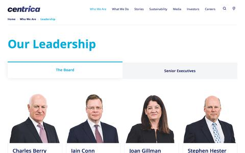 Screenshot of Team Page centrica.com - Leadership | Centrica plc - captured Sept. 15, 2019