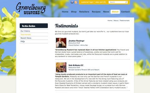 Screenshot of Testimonials Page gravelbourgmustard.ca - Testimonials - captured Sept. 30, 2014