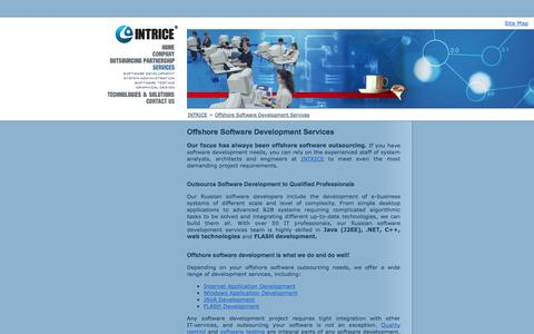Screenshot of Services Page intrice.com - Offshore Software Development, Offshore Software Outsourcing, Outsource Software Development, Offshore Outsourcing Software Development, Custom Software Development - captured Sept. 30, 2014