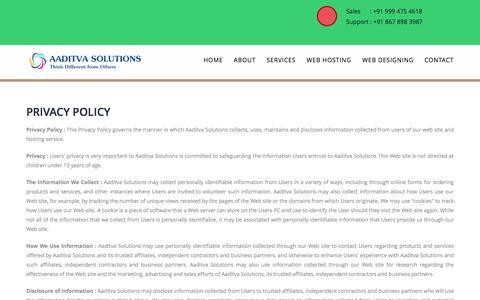 Screenshot of Privacy Page aaditva.com - Aaditva Solutions - captured Feb. 5, 2016