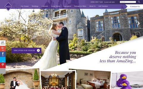 Screenshot of Home Page amazingvenues.co.uk - Wedding Venues, Conferences & Events | AmaZing Venues - captured Oct. 2, 2015