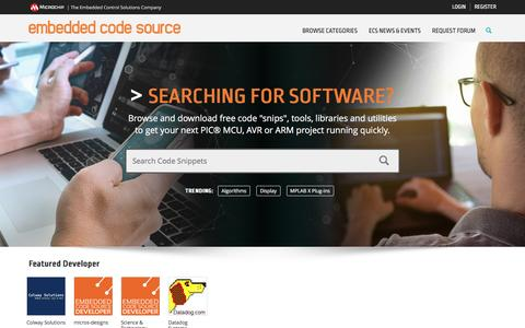 Screenshot of Home Page embeddedcodesource.com - Embedded Code Source - captured May 4, 2017