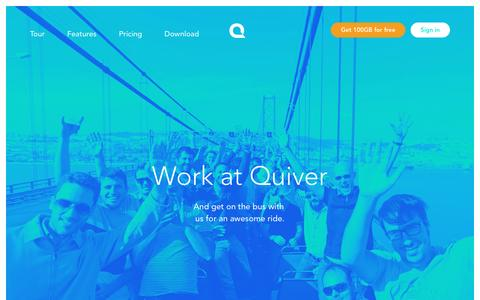 Screenshot of Jobs Page quiver.net - Work at Quiver - Dream Big. Work hard. Be great. Come join us! |Quiver - captured March 30, 2017