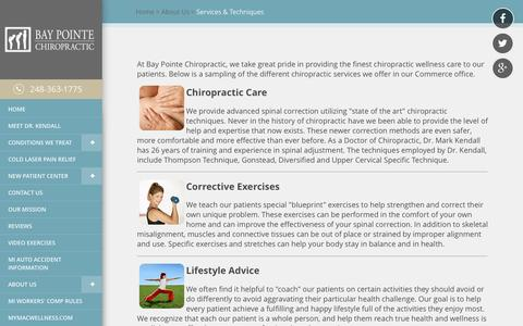 Screenshot of Services Page bpchiro.com - Bay Pointe Chiropractic - Chiropractor In Commerce, Oakland County MI USA :: Services & Techniques - captured Nov. 22, 2016
