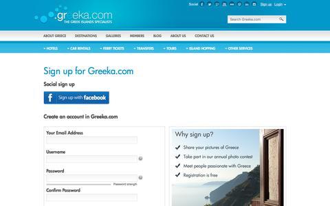 Screenshot of Signup Page greeka.com - Greeka.com registration page - captured Oct. 6, 2017