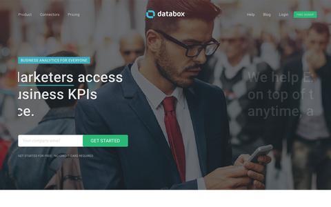 Screenshot of Home Page databox.com - Mobile-First KPI Dashboards for Business   Databox - captured Sept. 9, 2016