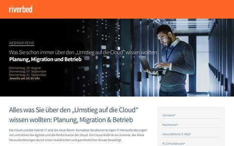 Screenshot of Landing Page riverbed.com - Modernisieren Sie Ihre IT-Infrastruktur - captured July 22, 2017