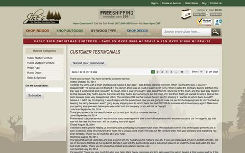 Screenshot of Testimonials Page logfurnitureplace.com captured Nov. 1, 2014