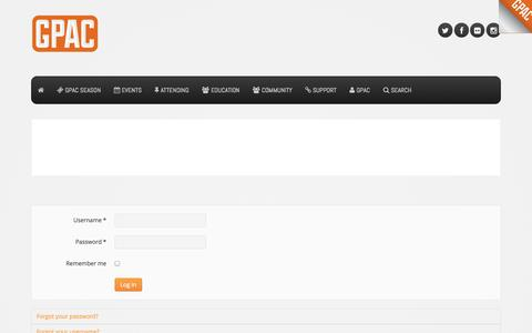 Screenshot of Login Page gpacweb.com - Login - Germantown Performing Arts Center - captured Oct. 2, 2014