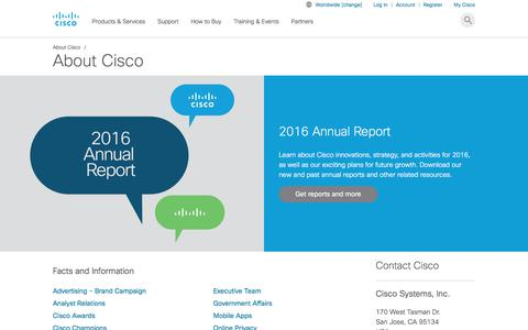 Screenshot of About Page cisco.com - About Cisco - Cisco - captured Aug. 6, 2017