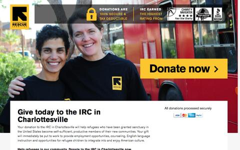 Screenshot of Landing Page rescue.org - Give today to the IRC in Charlottesville | International Rescue Committee - captured Nov. 27, 2016