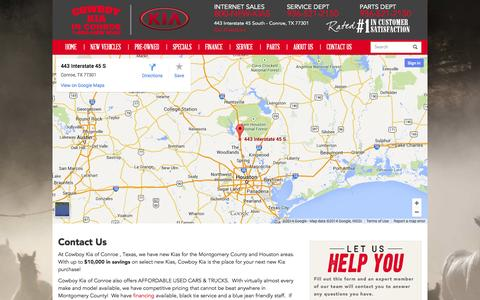 Screenshot of Maps & Directions Page cowboykiaconroe.com - Contact Us | Conroe | Cowboy Kia - captured Oct. 3, 2014