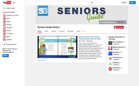 Screenshot of YouTube Page youtube.com - Seniors Guide Online  - YouTube - captured Nov. 3, 2014