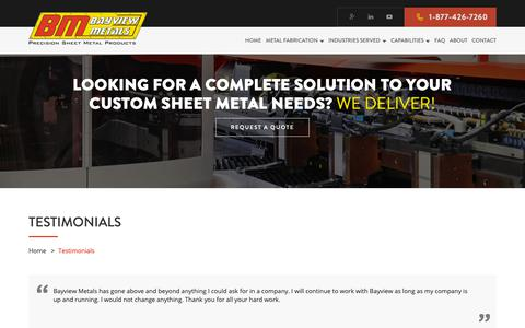 Screenshot of Testimonials Page bayviewmetals.com - Testimonials - What Our Customers Say - captured Nov. 6, 2018