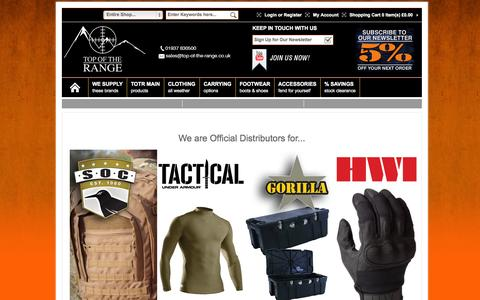 Screenshot of Home Page top-of-the-range.co.uk - Top of the Range / Specialist Military Equipment and Clothing / Under Armour Tactical - captured Oct. 7, 2014