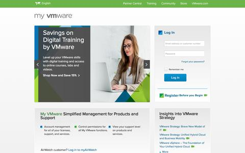 Screenshot of Login Page vmware.com - My VMware - Get Personalized Support Quickly and Easily | VMware Support - captured July 16, 2018