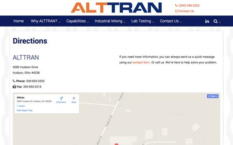 Screenshot of Maps & Directions Page alttran.com - Directions & Map | ALTTRAN - Rubber Mixing & Testing - captured July 25, 2016