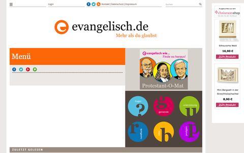 Screenshot of Menu Page evangelisch.de - Men�   evangelisch.de - captured Jan. 20, 2016