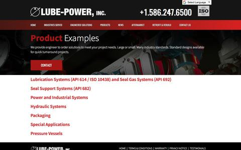 Screenshot of Products Page lubepower.com - Products | Lubrication Systems | Lube-Power, Inc. - captured Aug. 31, 2017