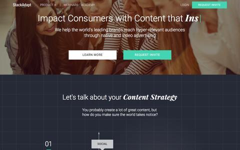 Screenshot of Home Page stackadapt.com - Content Distribution Platform - Amplify Branded Content | StackAdapt - captured July 14, 2016