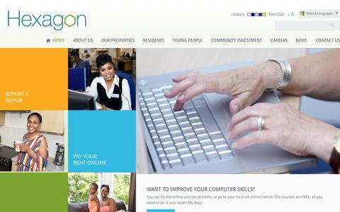 Screenshot of Home Page hexagon.org.uk - Hexagon Housing Association - captured Sept. 17, 2015