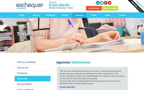 Screenshot of Testimonials Page exchequersolutions.co.uk - Umbrella Company UK Reviews - captured Nov. 15, 2017