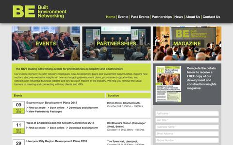 Screenshot of Home Page built-environment-networking.com - Built Environment Networking | Property, Construction, Building Sector Events - captured Oct. 6, 2018