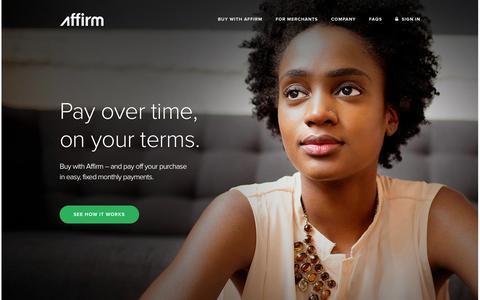 Screenshot of Home Page affirm.com - Affirm - captured Sept. 19, 2014