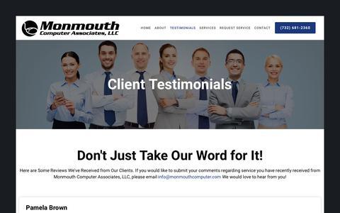 Screenshot of Testimonials Page monmouthcomputer.com - Customer Reviews and Testimonials | monmouthcomputer.com - captured Sept. 20, 2018