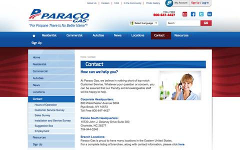 Screenshot of Contact Page paracogas.com - Contact Us | Propane Suppliers | Top 50 Propane Retailers | Paraco Gas - captured Oct. 10, 2014