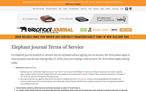 Screenshot of Terms Page elephantjournal.com - Elephant Journal Terms of Service | elephant journal - captured May 31, 2018