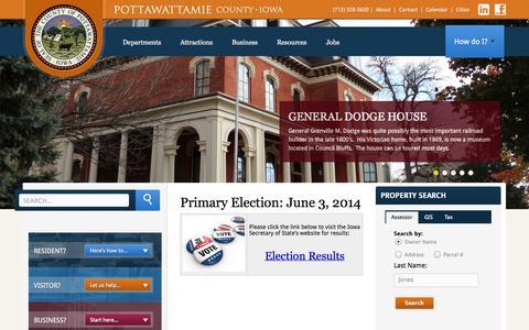 Screenshot of Home Page pottcounty.com - Pottawattamie County - captured Oct. 1, 2014