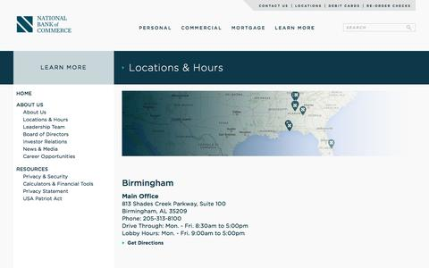 Screenshot of Locations Page nationalbankofcommerce.com - Locations & Hours                       National Bank of Commerce   Birmingham, Alabama   205-313-8100 - captured Jan. 10, 2016