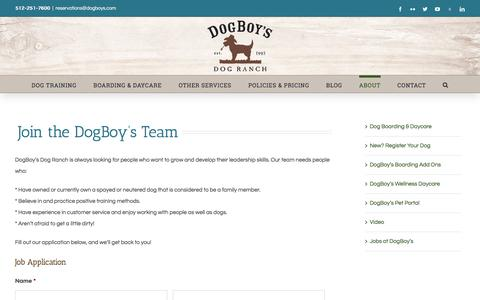 Screenshot of Jobs Page dogboys.com - Dog Boarding, Training, and Daycare Reservations   DogBoy's Dog Ranch   Austin TX - captured Oct. 12, 2017