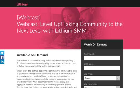 Screenshot of Landing Page lithium.com - Webcast: Level Up! Taking Community to the Next Level with Lithium SMM - captured Sept. 7, 2017
