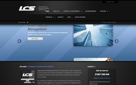 Screenshot of Home Page Products Page l-c-s-ltd.co.uk - Legionella Consultancy Services | Legionella Prevention and Water Management Services - captured Oct. 2, 2014